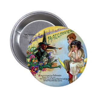 Witches, Goblins & Man in the Moon Halloween 6 Cm Round Badge