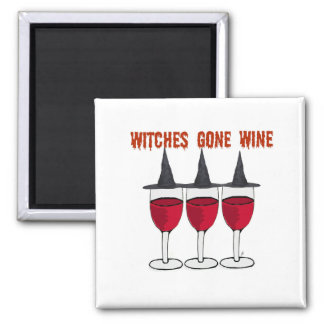 WITCHES GONE WINE RED GLASSES PRINT MAGNET