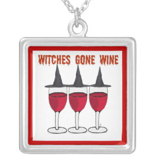 WITCHES GONE WINE RED GLASSES PRINT SQUARE PENDANT NECKLACE