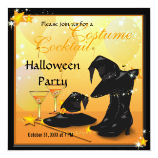 Witches Halloween Enchanting Cocktail Witch Party 13 Cm X 13 Cm Square Invitation Card