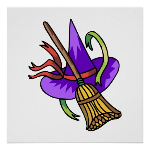 witches hat & broom posters