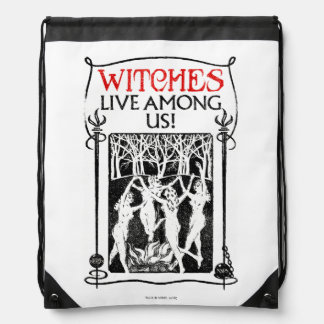 Witches Live Among Us Drawstring Bag
