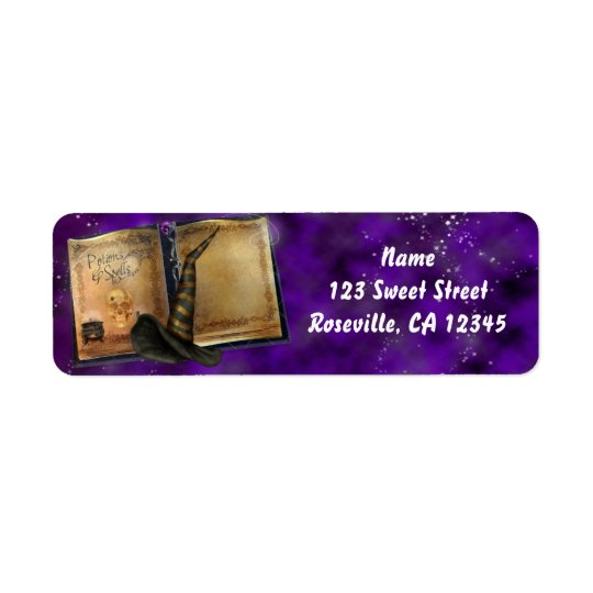 Witches Magic Spell Book Halloween Party Return Address Label