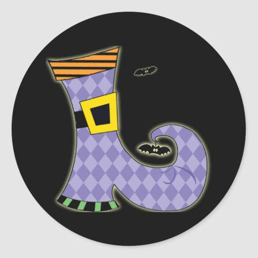 Witches Shoe Round Stickers