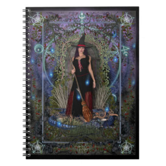 Witches Spellbook - Blue Moon Witch & Dragon Spiral Notebook