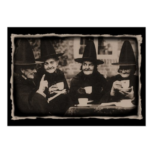 Witches Tea party - old black/white Poster