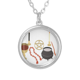 Witches Tools Round Pendant Necklace