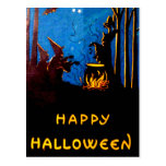 Witching Hour Black Cat Bat Cauldron Post Card