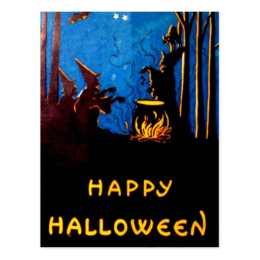Witching Hour Black Cat Bat Cauldron Post Card