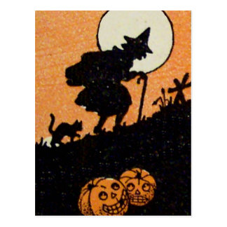 Witching Hour Witch Black Cat Jack O Lantern Postcard
