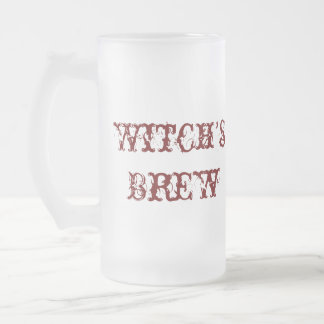 Witch's Brew Funny Halloween Props 16 Oz Frosted Glass Beer Mug