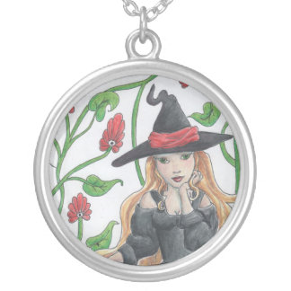 Witch's Broom Round Pendant Necklace