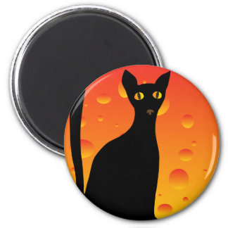 witch's cat&moon 6 cm round magnet
