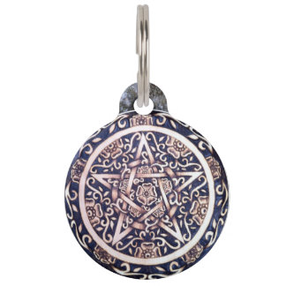 Witch's Familiar - Wild Rose Pentacle Pet Tag