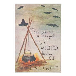 Witch's Hat Cauldron Fire Bat Photo