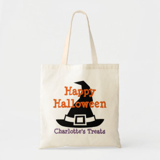 Witch's Hat Personalized Trick or Treat Halloween Budget Tote Bag