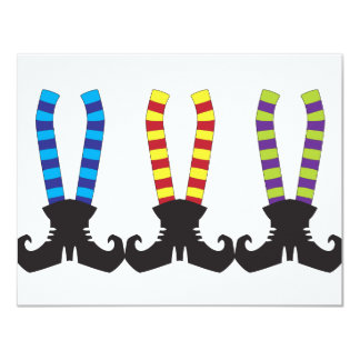 Witch's Stripy Socks 11 Cm X 14 Cm Invitation Card