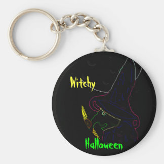 Witchy Basic Round Button Key Ring
