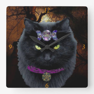 Witchy Black Cat Wall Clock