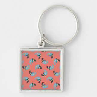 Witchy Blue Moons Silver-Colored Square Key Ring