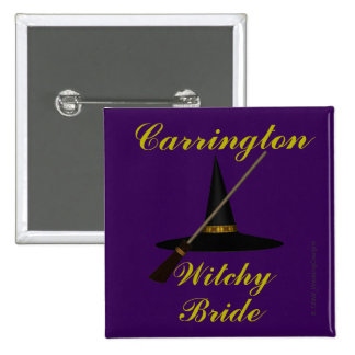 """Witchy Bride"" - w/ Witch's Hat and Broom 15 Cm Square Badge"