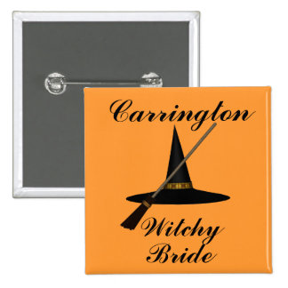 """""""Witchy Bride"""" - w/ Witch's Hat and Broom 15 Cm Square Badge"""