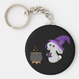 Witchy Bunny Basic Round Button Key Ring