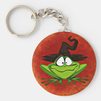Witchy Frog Button Keychain