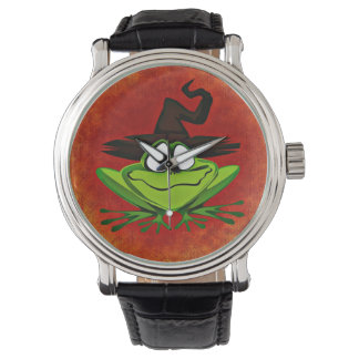 Witchy Frog Watch Vintage Leather Strap Black