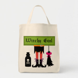 Witchy Girl Halloween T-shirts and Gifts Canvas Bags