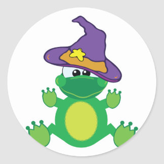 witchy goofkins froggy frog round stickers