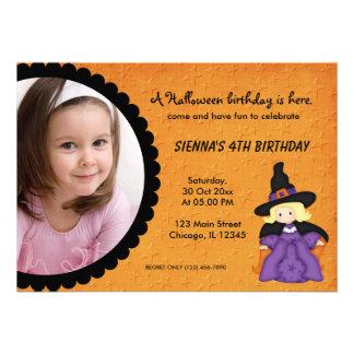 Witchy Halloween Birthday Custom Announcements