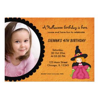 Witchy Halloween Birthday Orange Custom Invites