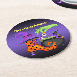 Witchy Halloween Round Coasters Round Paper Coaster