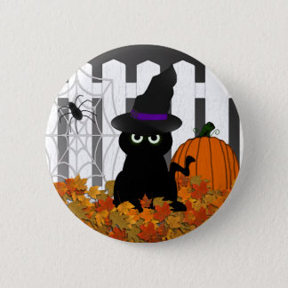 Witchy Kitty Halloween Button