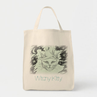 Witchy Kitty Grocery Tote Bag