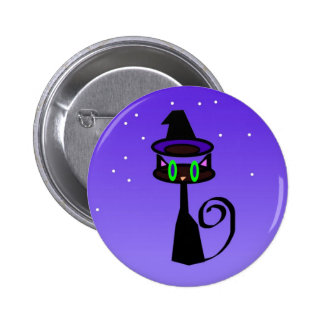 Witchy little black cat pins