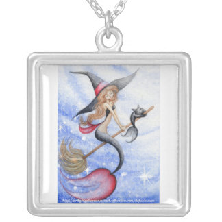 Witchy Mermaid & Merkitty Square Pendant Necklace