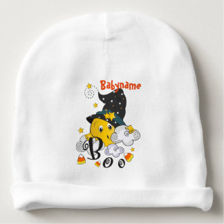 Witchy Moon Boo Halloween Personalized Baby Beanie