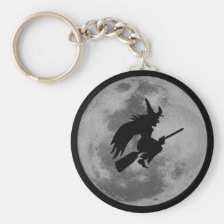 Witchy Moon Basic Round Button Key Ring