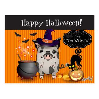 Witchy Piggy - Halloween Postcard