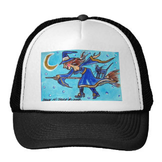 WITCHY WOMAN AND HER CAT TRUCKER HAT