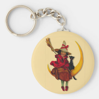 Witchy Woman Basic Round Button Key Ring