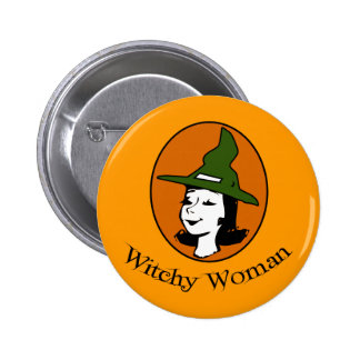 Witchy Woman Cartoon Style Pinback Button