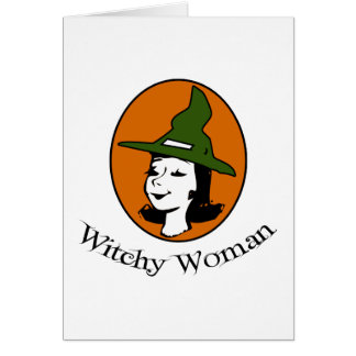Witchy Woman Cartoon Style Greeting Card