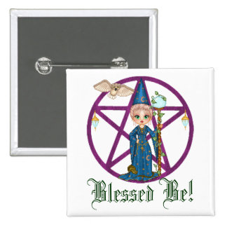 Witchy Woman Penctacle Pixel Art 15 Cm Square Badge
