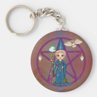 Witchy Woman Penctacle Pixel Art Basic Round Button Key Ring
