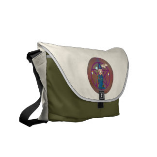 Witchy Woman Penctacle Pixel Art Messenger Bags
