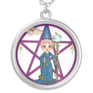 Witchy Woman Penctacle Pixel Art Round Pendant Necklace