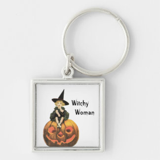 Witchy Woman Vintage Halloween Silver-Colored Square Key Ring
